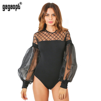 Gagaopt 2017 Summer Bodysuits Women Sexy Lace Patchwork Jumpsuit Lantern Sleeve Night Club Elegant Overalls Grid