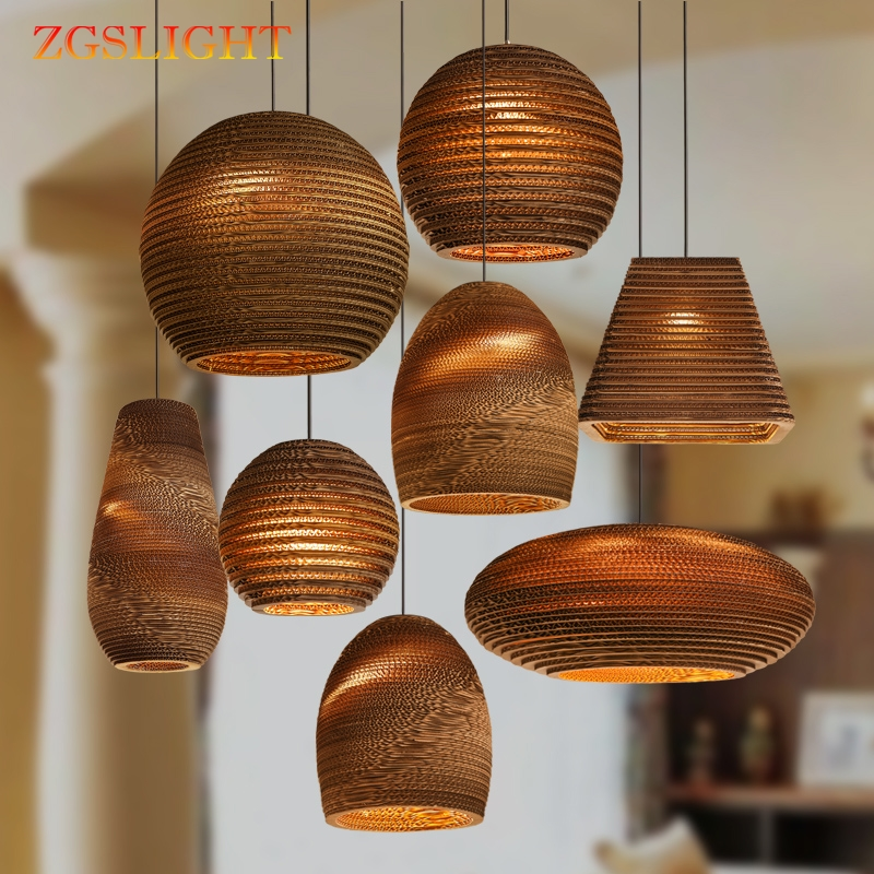 Personality paper honeycomb pendant lights cardboard personalized living room restaurant cafe clothing store pendant lamps