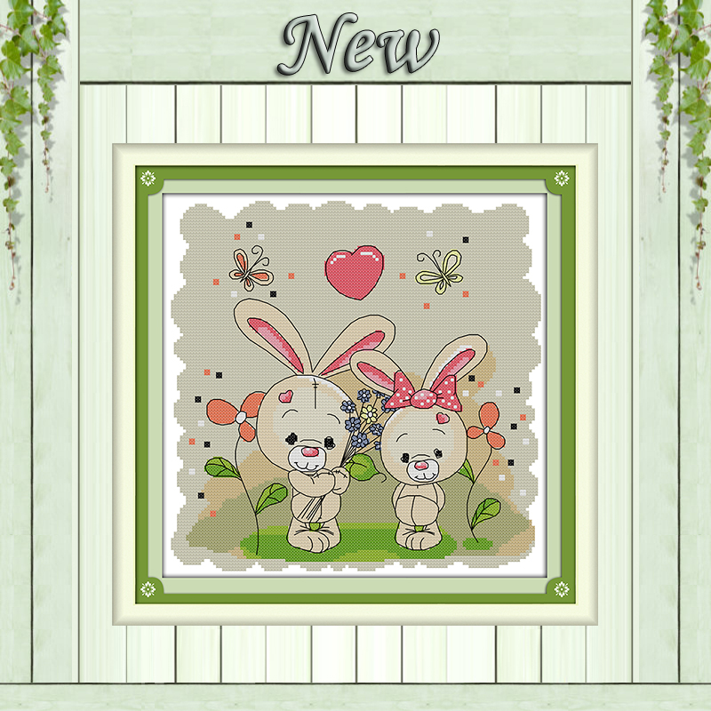 Package The Couple Rabbits Cartoon Painting Counted Printed On Canvas Dmc 14ct 11ct Chinese Cross Stitch Needlework Sets Embroidery Kits Home & Garden