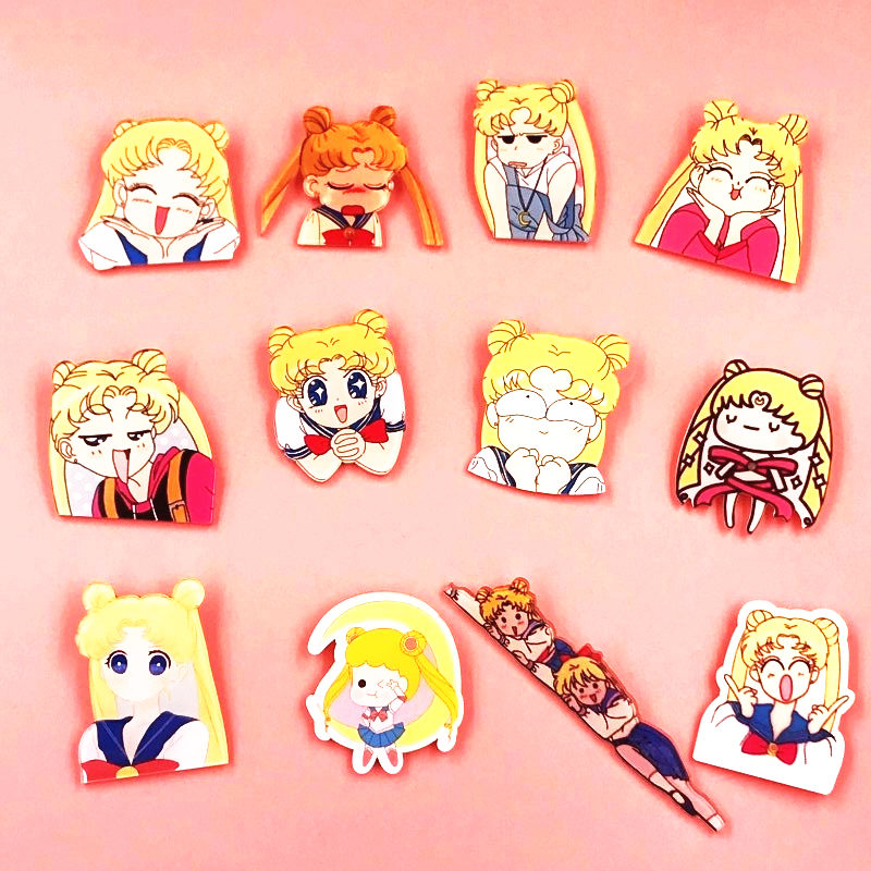 1pcs Cartoon Harajuku Style Kawaii Pretty Soldier Sailor Moon Acrylic Brooch Badges Pin Backpack Clothes Decoration Brooches New Varieties Are Introduced One After Another Apparel Sewing & Fabric Badges