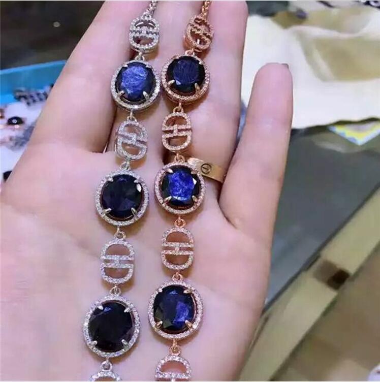 Saphir naturel chaîne bracelet livraison gratuite naturel réel saphir vert 925 bijoux en argent sterling 10*12mm 3 pièces