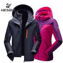 ФОТО winter jacket women outdoor hiking 3 in 1 men fleece coat couples sport hunting clothes waterproof heated windbreaker camping