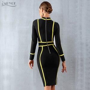 Image 5 - ADYCE lato kobiety bandaża sukni Vestidos Verano 2020 seksowny golf z długim rękawem Bodycon sukienka klubowa Mini impreza celebrytów sukienka