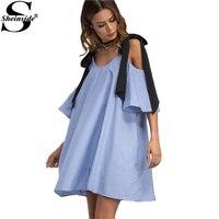 Sheinside Contrast Tie Cold Shoulder Dress Ladies Blue Vertical Striped Elegant Summer Dresses 2017 Mini Shift