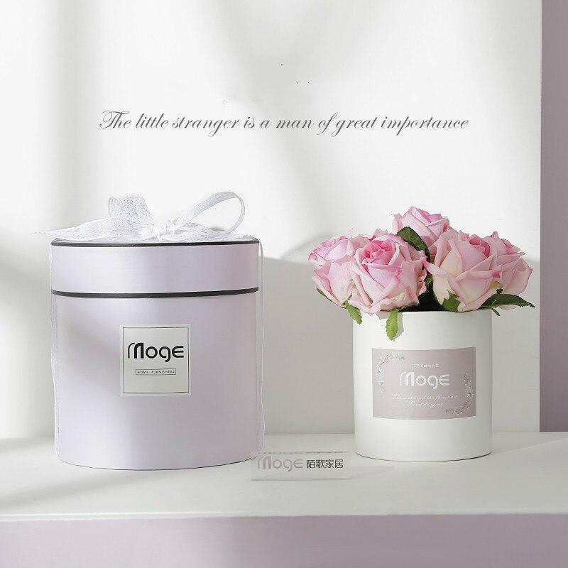 20 см для свадьбы искусственные цветы, шелковые стразы, украшение для дома, букет цветов, растения, Западный Роскошный подарок - 5
