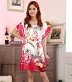 Summer Pink Chinese Women's Faux Silk Robe Dress Casual Bath Gown Sexy Mini Nightshirt Floral Pajamas Sleepwear One Size S0102