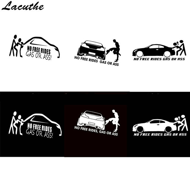 20 8cm Gas Or No Free Rides Funny Vinyl Decals Car Sticker Euro Jdm For Window Per Body Styling Decorating