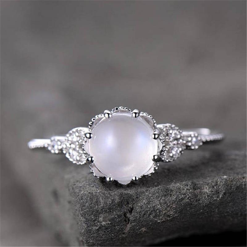 Moonstone Rings For Women Vintage Tibetan Ring Water Drop White Stone Ring Female Fashion