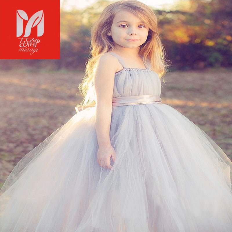 New  tulle gray baby bridesmaid flower girl wedding Dresses fluffy ball gown USA birthday evening prom cloth  tutu party dress lilac tulle open back flower girl dresses with white lace and bow silver sequins kid tutu dress baby birthday party prom gown