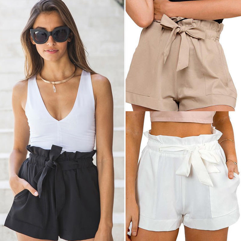 Moda mujer Sexy OL Imperio de cintura alta con cordones volantes de algodón sólido pantalones cortos crepé verano Pantalones casuales para la playa