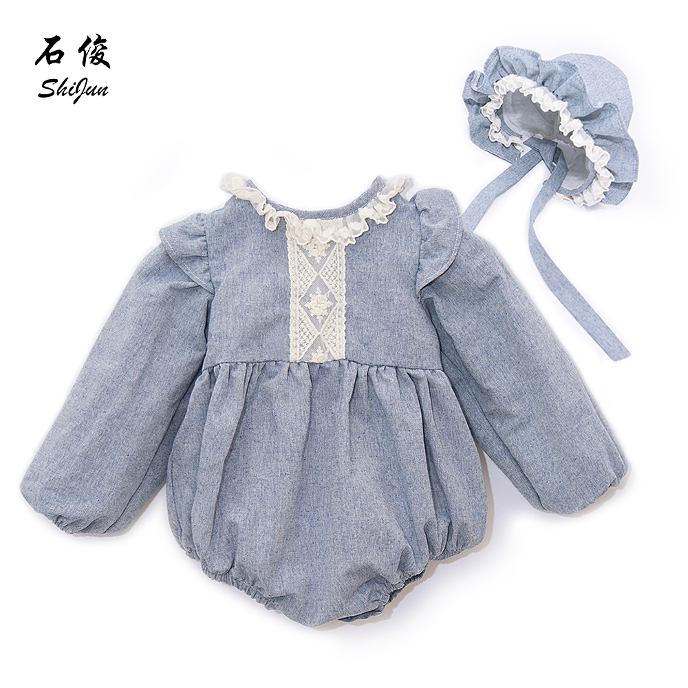 MyLittleOne 2019 Summer  2019 Spain Style Linen Lace Baby Girl Romper With Bonnet Set