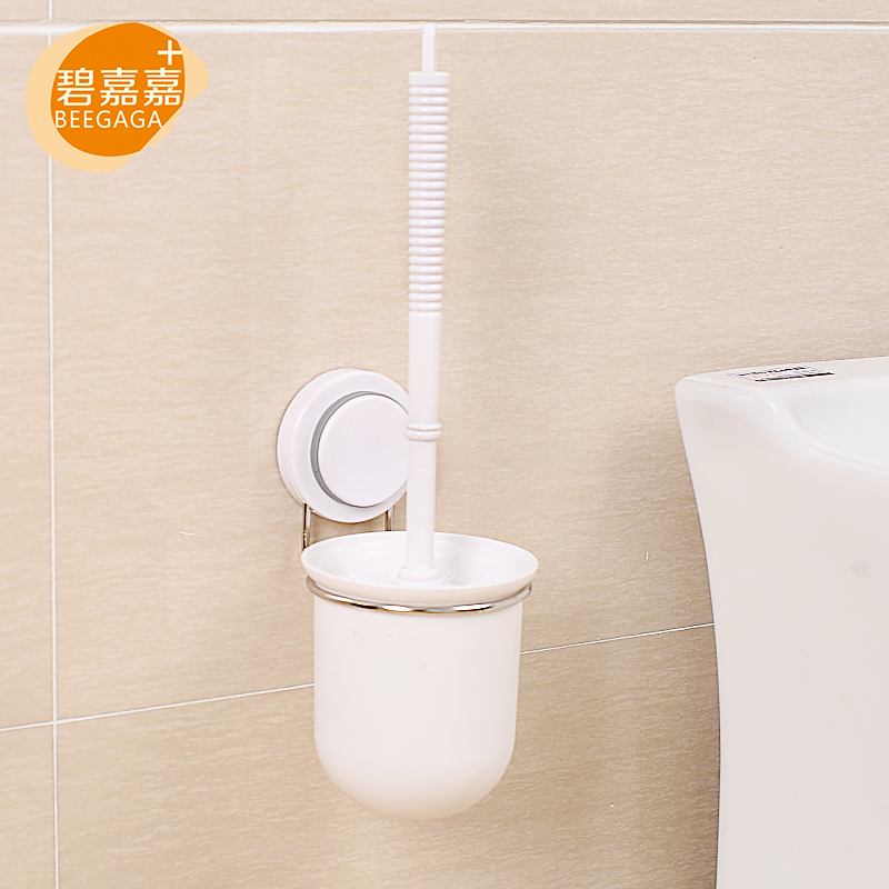 BEEGAGA Plastic WC Toilet Brushes with Holder <font><b>Stainless</b></font> <font><b>Steel</b></font> Bathroom Accessories <font><b>Set</b></font> Wall-Mounted with <font><b>Powerful</b></font> <font><b>Suction</b></font> <font><b>Cup</b></font>