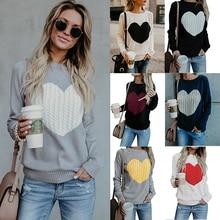 Heart Shape Pullover Women Long Sleeve Sweater Knited women sweaters and pullovers Autumn And Winter 2019 New Arrivals