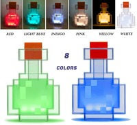 Minecrafted Color Changing Potion Bottle With 8 Color LED Lamp Festival Gift Vial Night Light Variable Game Peripheral Model Toy