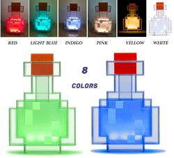 Minecrafted Farbwechsel Trank Flasche Mit 8 Farbe LED Lampe Festival Geschenk Vial Nacht Licht Variable Spiel Peripherie Modell Spielzeug