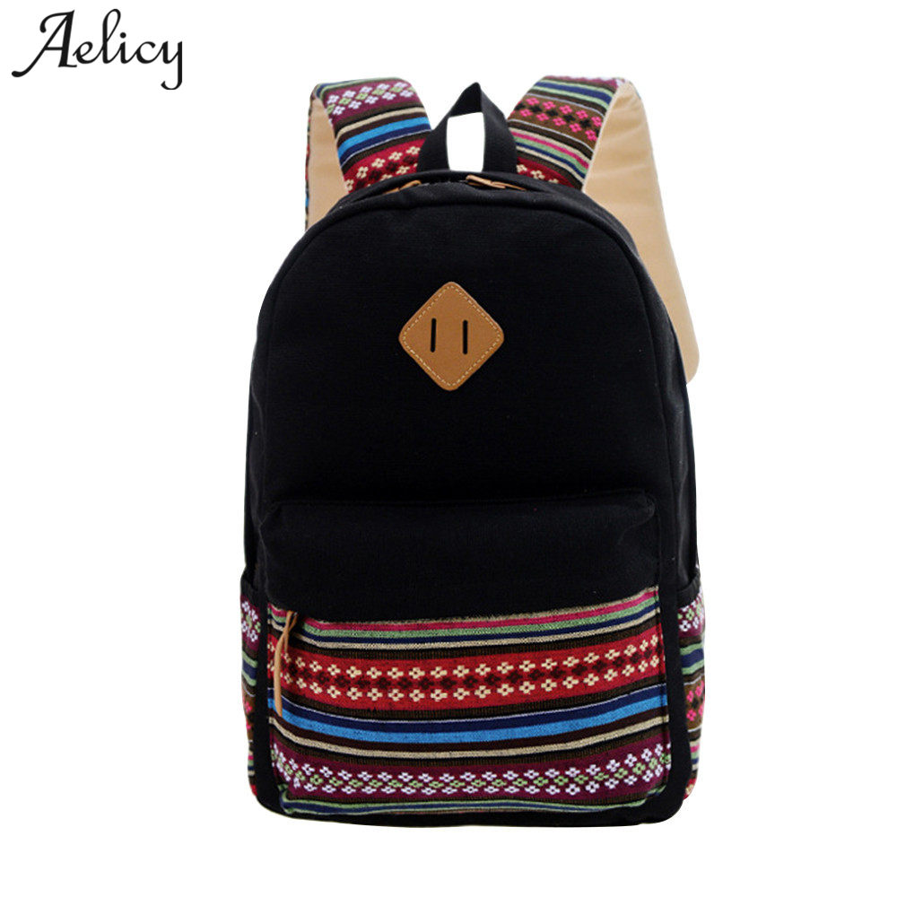 Aelicy Canvas Printing Backpack Women School Backpacks Bag for Teenage Girls Vintage Canvas Backpack simple style backpacks attack on titan freedom wings emblem printing korean japanese style school backpack anime backpacks ab197