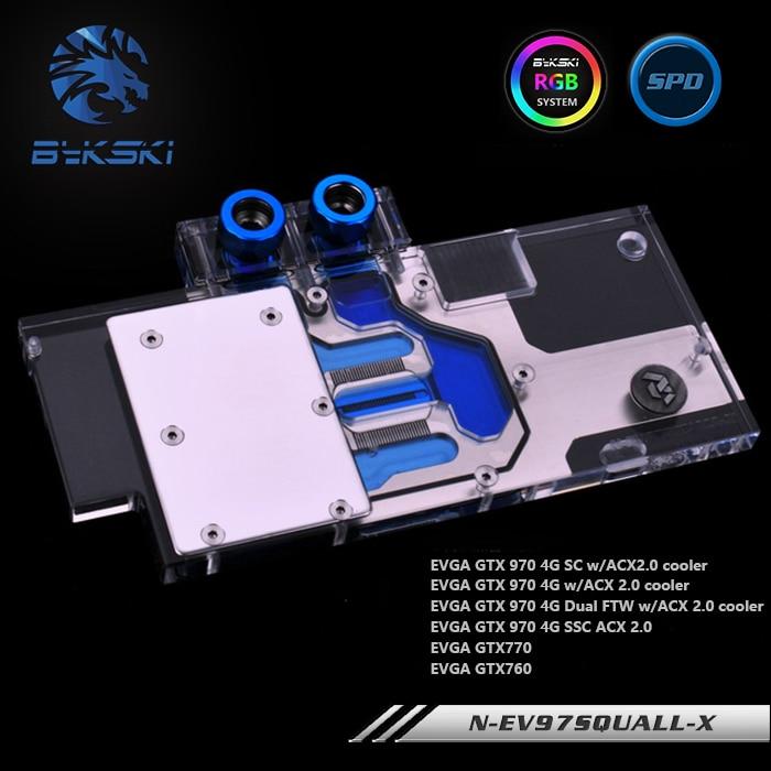 Bykski N-EV97SQUALL-X, Pleine Couverture carte graphique bloc de refroidissement à eau RVB/RBW pour EVGA GTX970 sc acx2.0 GTX770 GTX760
