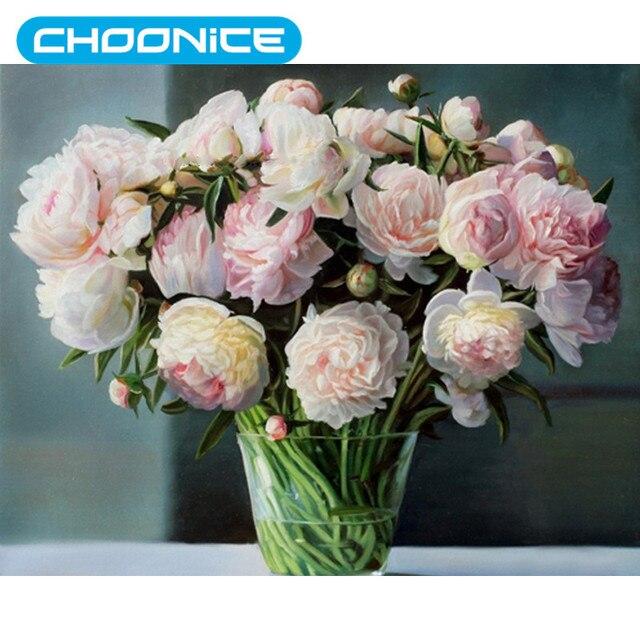 Diamond Embroidery Painting White Rose Diamond Painting Vases Of