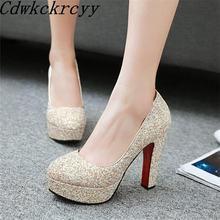 Новые весенние модные женские туфли на высоком каблуке с круглым