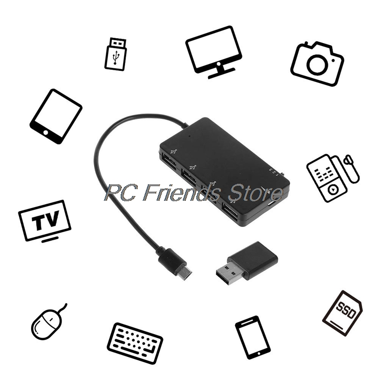 Micro Usb Otg 4 Port Hub Power Charging Adapter Cable For Smartphone