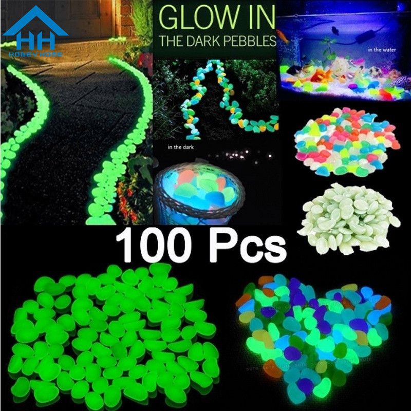 100Pcs Glow in the Dark Pebbles Stones Luminous Outdoor Garden Aquarium Green HG