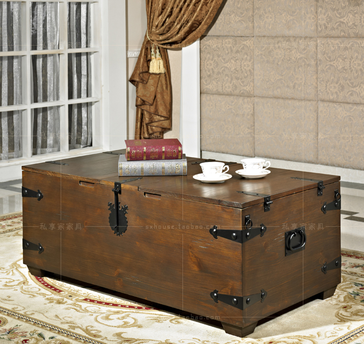 American Retro Coffee Table Made Of Old Wood Box Creative Wrought Iron Tables Living Room European