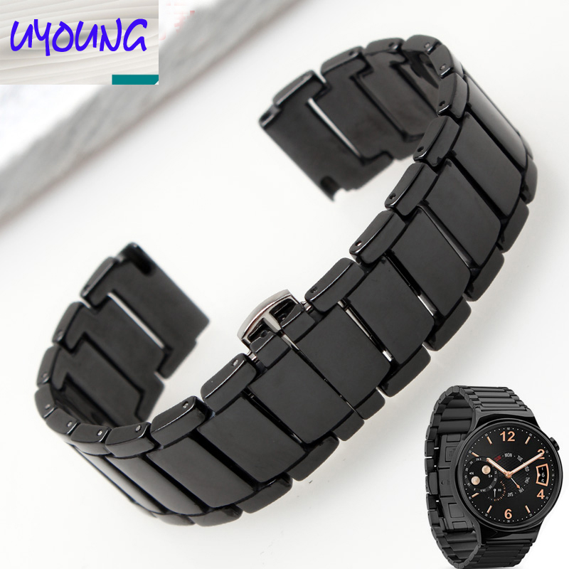 UYOUNG Black and white ceramic bracelet for HUAWEI watch glory S1 18mm waterproof convex butterfly watch strap glory black red kl108