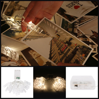 2 2M LED Card Photo Clip String Lights Warm White Festival Party Wedding Fairy Lamp Home