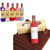 Creative Red Wine Bottle Shape Washcloth Towel Bath Shower Face Soft Cotton Towel Wedding Cake Gift Sale