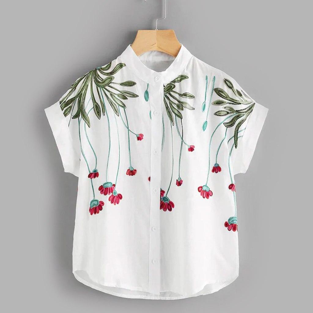 blusasmujerdemoda2019women's  blouse    shirt   Women's Summer Loose Short Sleeve Stand Collar Embroidered   Shirt   Tide Tops
