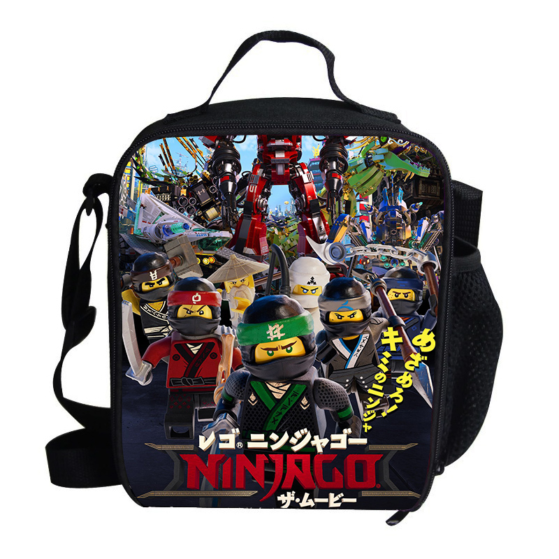 Cool Thermal Insulated Lunch Bag For Kids Cartoon LEGO Ninjago printing Lunch Bag For Children School Cartoon Film Bags