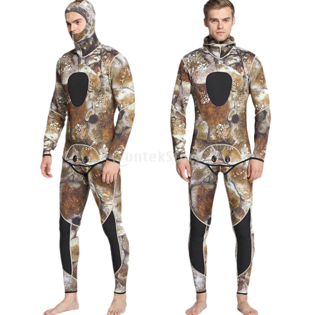 Men 3mm Neoprene Wetsuit Two-piece Suit Super Stretch for Diving Swimming Camouflage S-XXL jones new york men s vince two button side vent suit