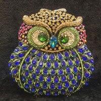 Moda di lusso del gufo di cristallo pochette da sera del partito D'oro borsa delle donne da sposa borsa del sacchetto soiree pochette per le signore