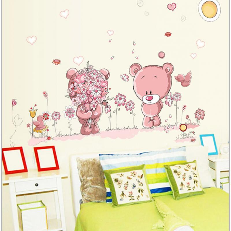 Removable cute couple bear wall stickers art decal wall for Acheter chambre