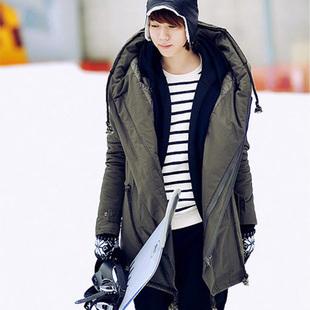 Jaqueta de algodão longo, masculino inverno outerwear tendência projeto inverno amassado espessamento com um capuz acolchoado sobretudo exército