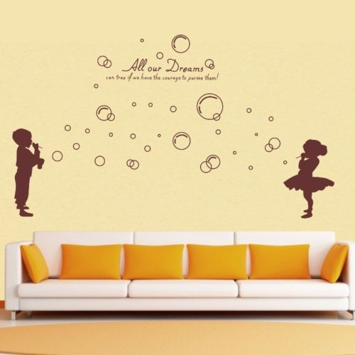 Boy girls bubbles wall decals living room removable sticker home decor diy vinyl art mural personalised wall decal kids la014 in wall stickers from home
