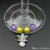 10pcs/lot Wedding Christmas Party Wineglass Beads Ring With Angel Perfume Bottle Goblet Chain Charm Decoration wj008