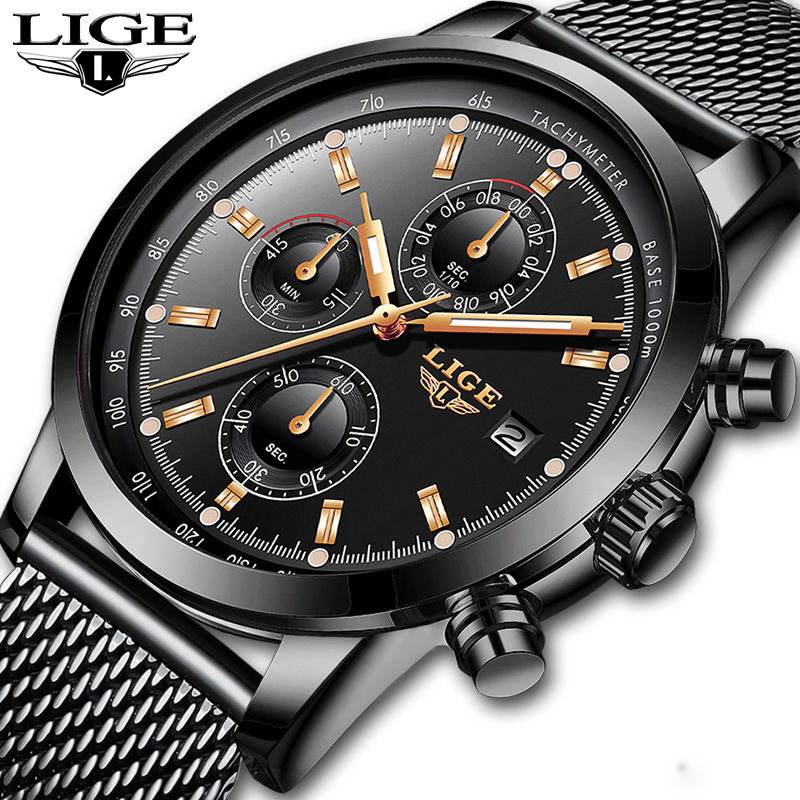 Montres homme LIGE Top marque de luxe en acier maille affaires montre à Quartz hommes décontracté étanche montre-bracelet militaire Relogio Masculino