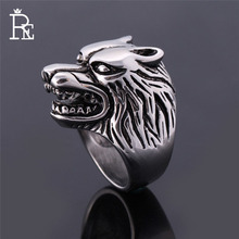 RE Punk Wolf Head Ring for Men Male 316L Stainless Steel Antique Vintage Viking Rings chic wolf head shape ring for men
