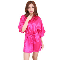Hot Pink 2016 Short Style Women S Silk Satin Robe Gown Kimono Gown Wedding Party Bridesmaid