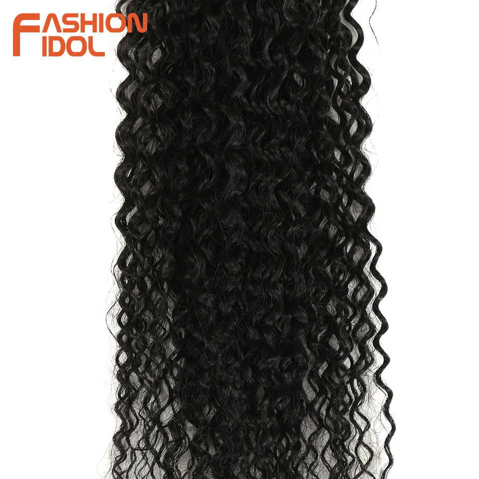 Мода IDOL афро кудрявые вьющиеся синтетические волосы для наращивания пучки Омбре 6 шт. термостойкие пучки волнистых волос для черных женщин