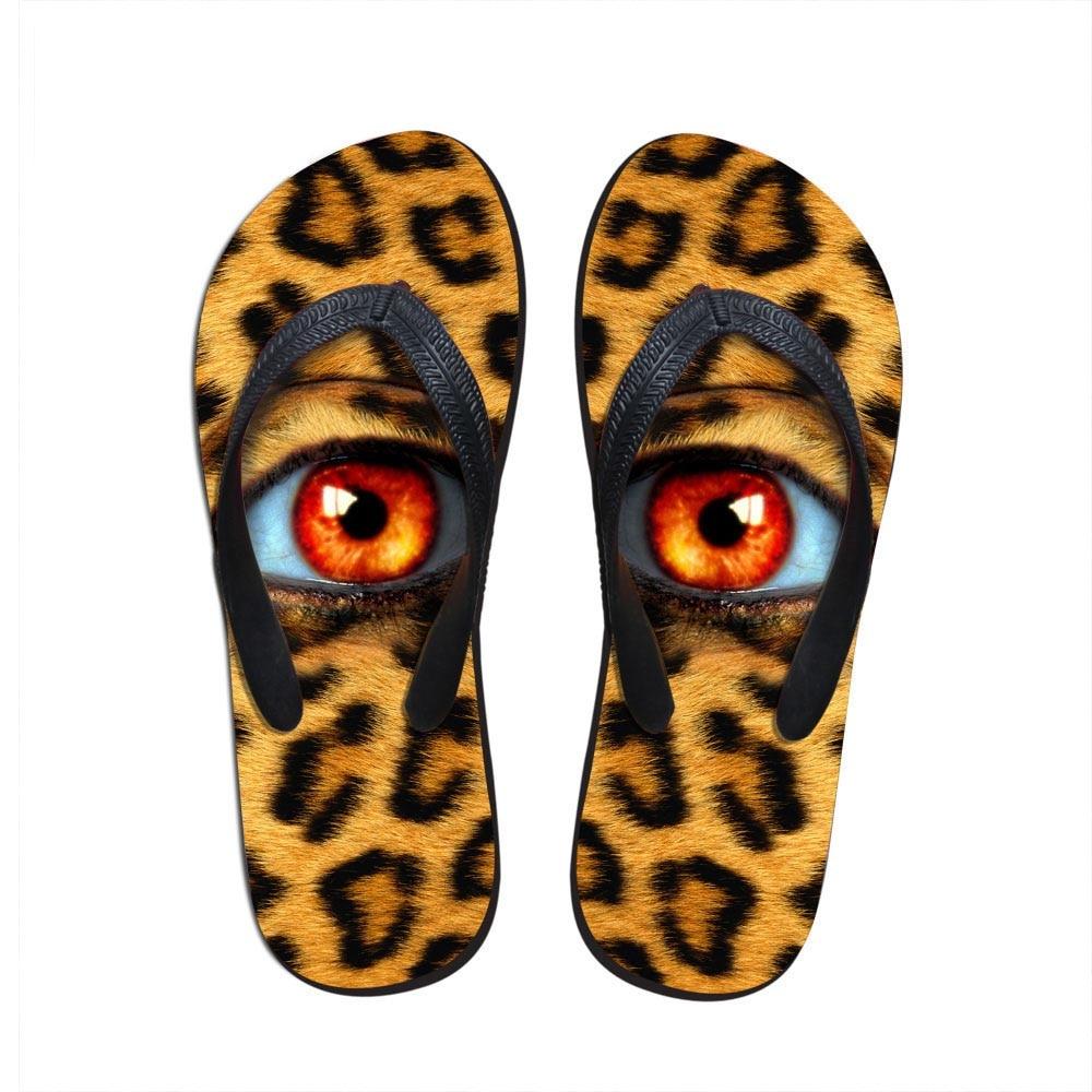 Noisydesigns Frauen-flop-flops Leopard Print Big Eye Mädchen Strand Sandalen Plattform Schuhe Sommer Hausschuhe Damen Frauen Flip-flops