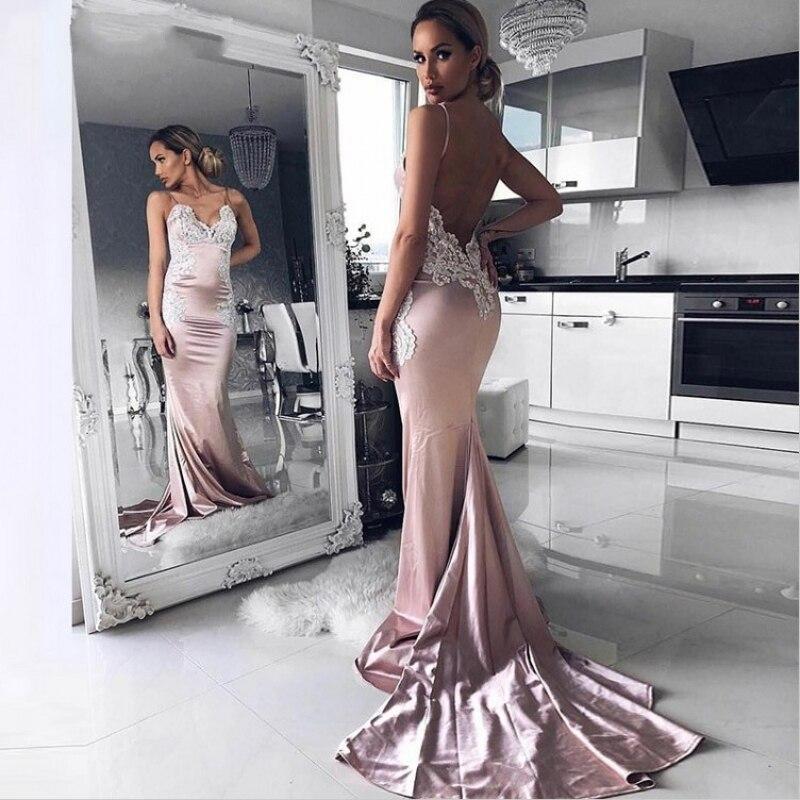 2019 Satin Mermaid   Evening     Dress   Sexy V-Neck Pink Prom   Dresses   Appliques Stain Mermaid Party   Dresses   Vestidos De Gala