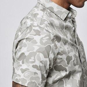 Image 5 - KUEGOU 2019 Sommer Baumwolle Camouflage Shirt Männer Kleid Casual Slim Fit Kurzarm Streetwear Für Bluse Männer Military Hemd 8817