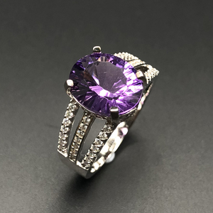 Image 2 - new design amethyst rings natural gemstone oval 10*12mm with 925 sterling silver fine jewelry anniversary gift for women wife