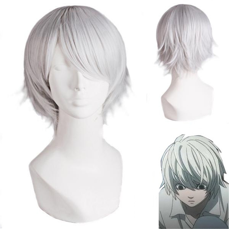 Death Note Nate River 30cm Anime Costume Cosplay Wig Silver Gray Straight Heat Resistant Wigs Free Cap
