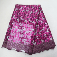 Purple Swiss lace veil high quality women's dress material, African embroidered nep 5 m with delicate sequins of clothing
