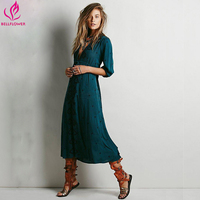 Boho Dress Women 2018 Summer Embroidery Bohemian Long Dress Loose V Neck Sexy Retro People Hippie Dresses Robe 14 Colors