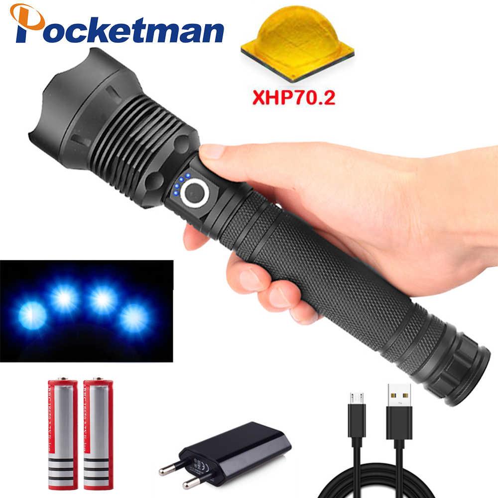 7000 lumens XLamp xhp70.2 la plus puissante lampe de poche usb Zoom torche LED xhp70 xhp50 18650 ou 26650 batterie meilleur Camping, en plein air