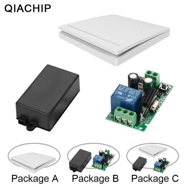 Qiachip 433 mhz interruptor de controle remoto sem fio ac 85 v 110 v 220 v 1ch relé 433 mhz módulo receptor aprendizagem luz controlador da lâmpada